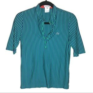 Lacoste Blue and Green Striped Blouse